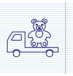 Truck with bear navy line icon on vector
