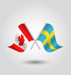 Two crossed canadian and swedish flags vector