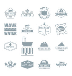 water logo icons set simple style vector image