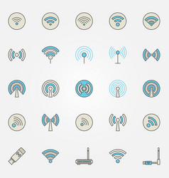 Wireless network and wi-fi icons vector