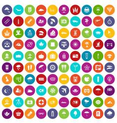 100 umbrella icons set color vector