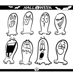 Halloween Ghosts Emoticons for Coloring vector image