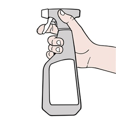 Hand holding spray with white label vector