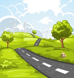Spring landscape with road vector image