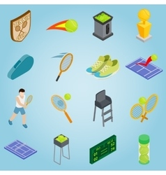 Tennis set icons isometric 3d style vector