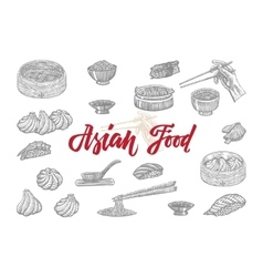 Sketch asian food collection vector