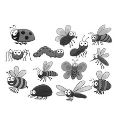 Cartoon insects and bugs icons set vector