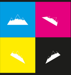 Mountain sign   white icon vector