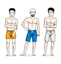 Happy men standing with athletic body wearing vector