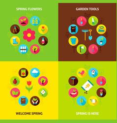 Spring garden concepts set vector