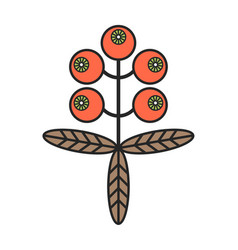 Buckthorn flat color icon berry isolated on white vector