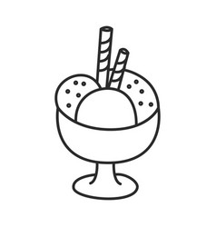 Ice cream in a bowl with wafer sticks vector