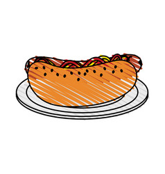 Color crayon stripe cartoon hot dog on plate fast vector