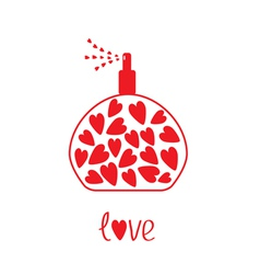 Perfume with hearts inside card vector