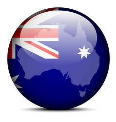 Map on flag button of commonwealth of australia vector