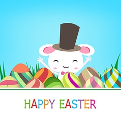 Happy easter eggs and bunny banner vector