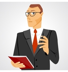 Businessman with business diary and ball pen vector