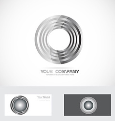 Silver rings circle abstract logo vector
