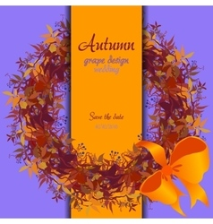 Autumn grape with orange leaves circle and border vector