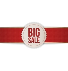 Realistic christmas big sale label and red ribbon vector