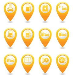 Set of 12 pointers car service map pointer yellow vector