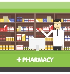Young pharmacy chemist man standing in drugstore vector image