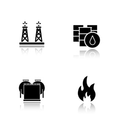 Oil industry drop shadow black icons set vector