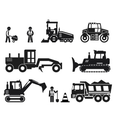 Road construction worker black icons set vector
