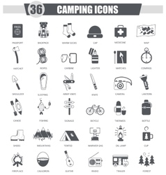 Camping travel black icon set dark grey vector