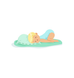 adorable little kid sleeping on a pillow cartoon vector image vector image