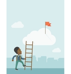 African man with career ladder vector