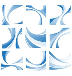Blue wavy elements set vector image vector image