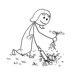 Cartoon of gardener woman digging a hole for plant vector