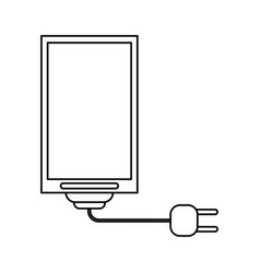 Cellphone with cord and plug icon image vector