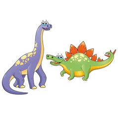 Couple of funny dinosaurs vector image vector image