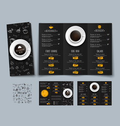 design of a triple black menu for cafes and vector image vector image