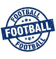 Football blue round grunge stamp vector