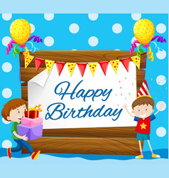 Happy birthday card with two boys vector