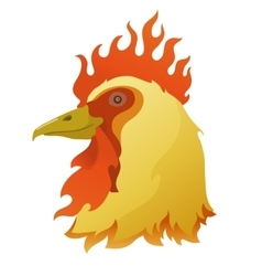Head of a flamy rooster vector