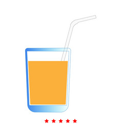 Juice glass with drinking straw icon flat style vector