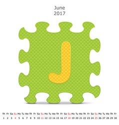June 2017 puzzle calendar vector image vector image