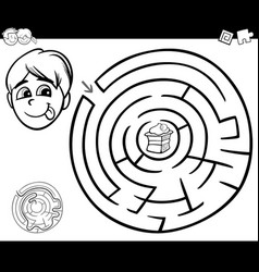 maze with boy and cake for coloring vector image
