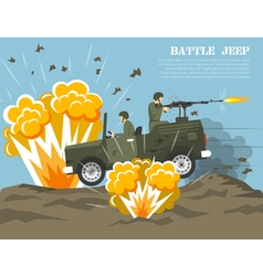 Military Army Battle Environment Flat Poster vector image