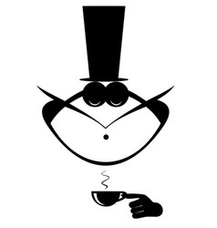 mustache man in the top hat has a cap of coffee vector image