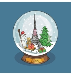 Paris Christmas Snow globeDoodle noel vector image