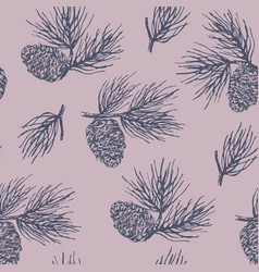 Pinecone seamless pattern vector