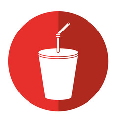 Plastic cup drink cola shadow vector