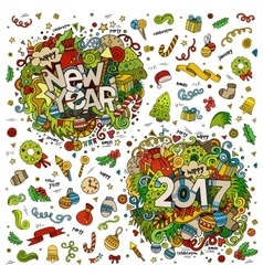 Set of 2017 and New Year hand lettering and vector image vector image