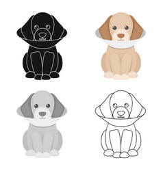 sick dog icon in cartoon style for web vector image