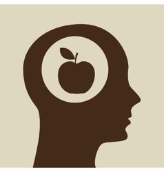 Silhouette head apple icon graphic vector